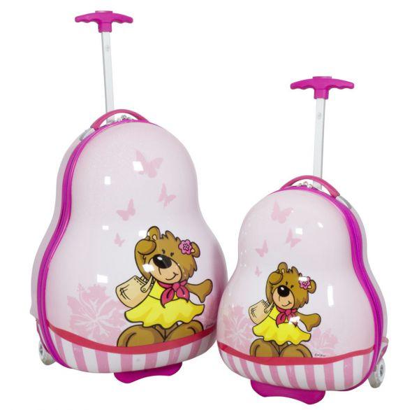 Kinder Koffer und Kofferset 2tlg Teddy Bär pink