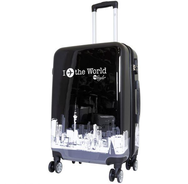 Polycarbonat Citykoffer Größe M - Fly The World schwarz