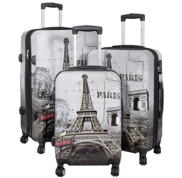 Polycarbonat Koffer- und Kofferset 3tlg Paris