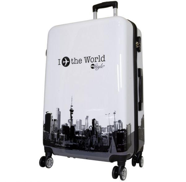 Polycarbonat Reisekoffer Größe L - Fly The World schwarz